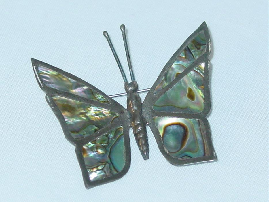 Vintage Sterling Silver Abalone Butterfly Pin Signed Mexico