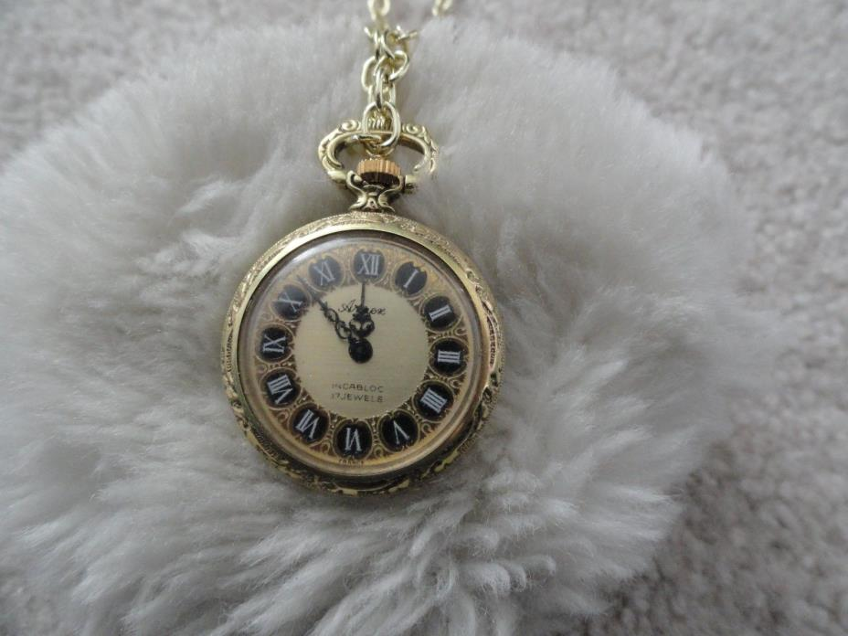 Vintage Made in France Arnex 17 Jewels Incabloc Wind Up Necklace Pendant Watch