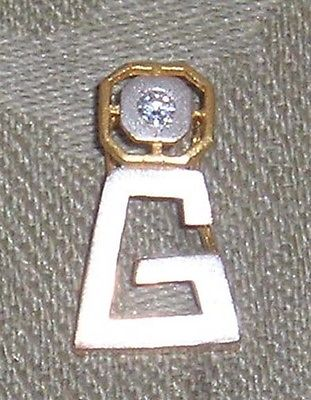 VINTAGE 0.4KT DIAMOND 22KT SOLID YELLOW & WHITE GOLD INITIAL LETTER G PENDANT