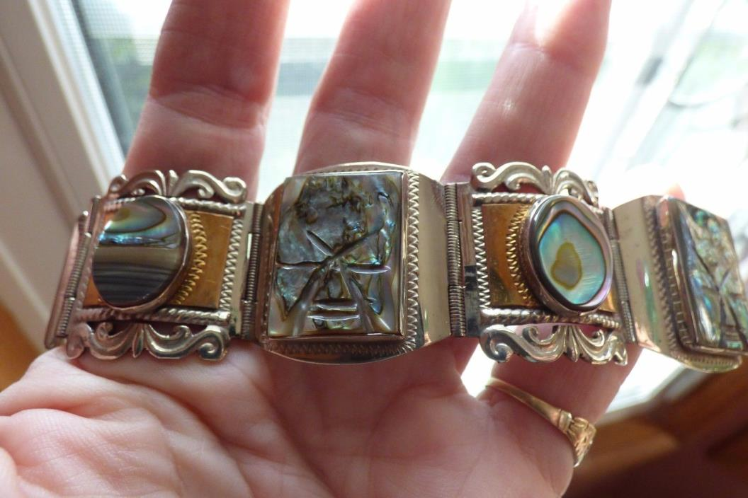Old Mexico taxco heavy sterling link bracelet with brass and carved abalone