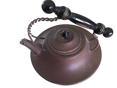 Antique Vintage Copper Tea Kettle Pot Wooden Handle