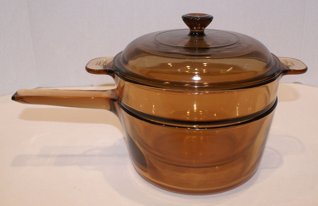 Corning Ware Vision Visions Amber DOUBLE BOILER 1.5 QT Saucepan w/ Insert & Lid