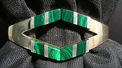 Sterling Silver & Malachite Hinged Cuff Bracelet Mexico 925