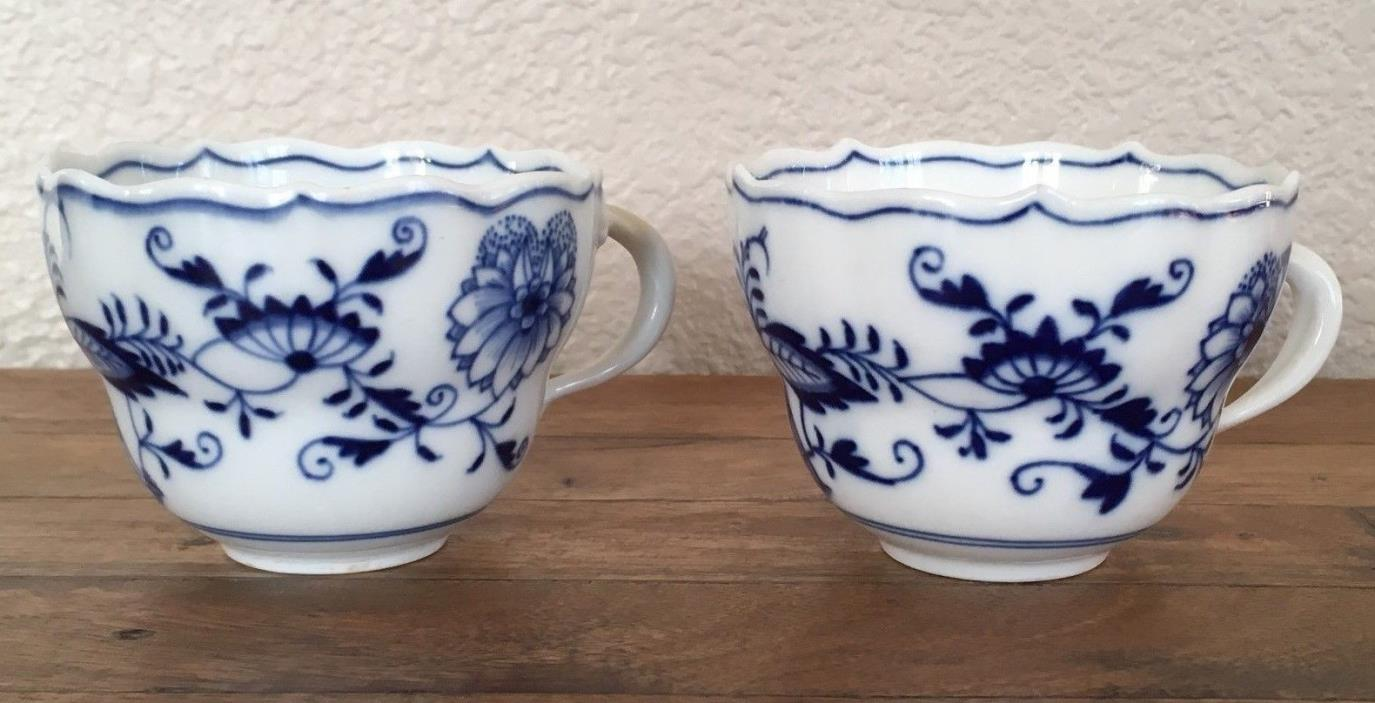 Lot 2 Antique Meissen Blue Onion Crossed Swords with Pommels Tea / Coffee Cup