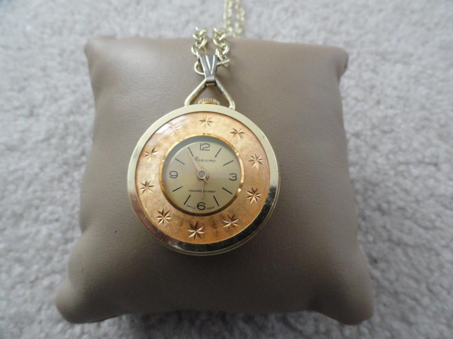 Vintage Swiss Made Bercona Wind Up Necklace Pendant Watch