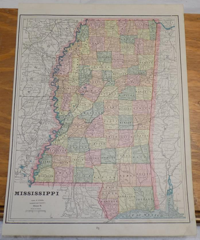 1891 Antique CRAM Map///MISSISSIPPI