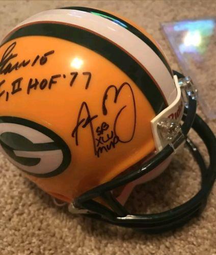 Bart Starr Brett Favre Aaron Rodgers signed mini helmet Packers autographed JSA