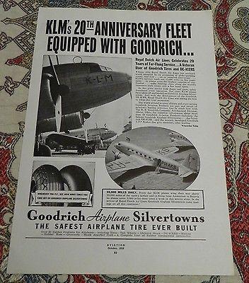 Goodrich Airplane Silvertown tires ad KLM DC-3s 1939
