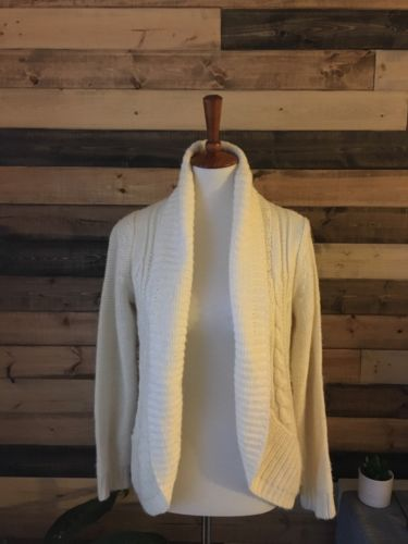 Motherhood Maternity Cream Chunky Cozy Open Front Cardigan Sweater, Size Small