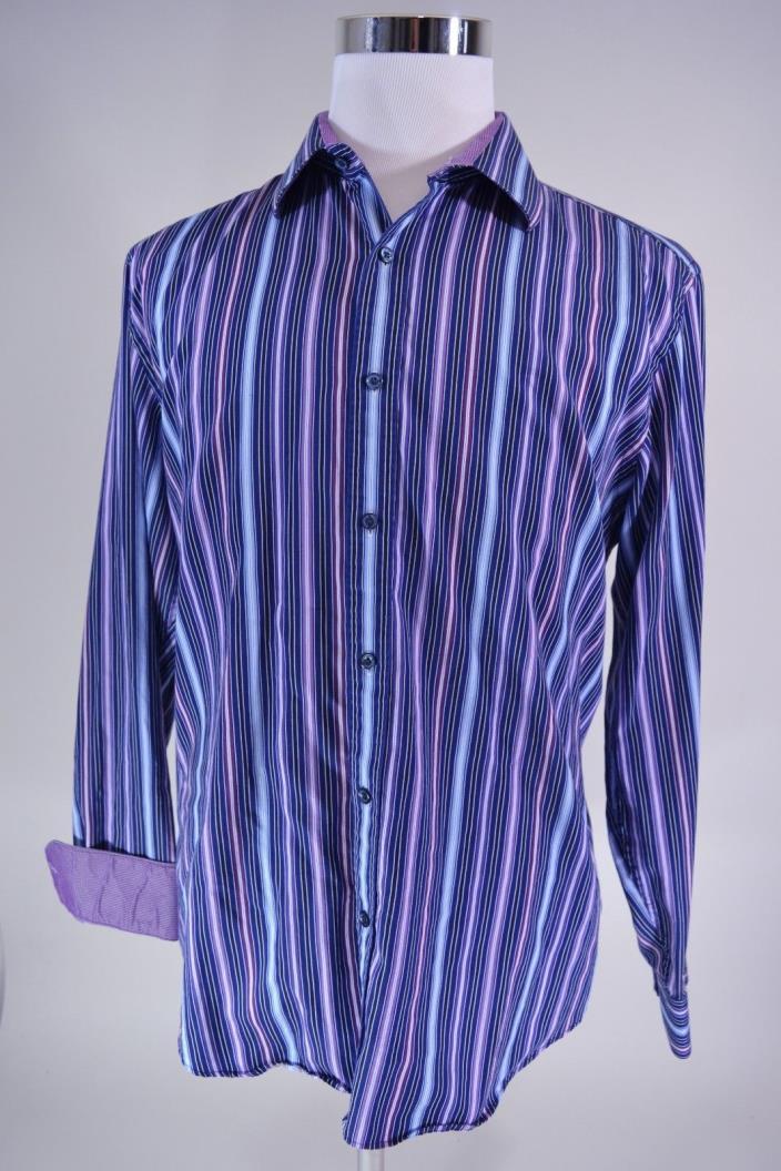 Bugatchi Uomo Shaped Fit Sport Shirt Purple Striped Flip Cuff Men's size XL