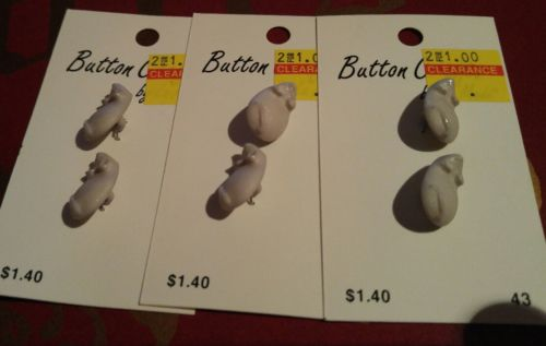 Vintage Gray Grey Mouse Mice Buttons - 6 Buttons - New Old Stock