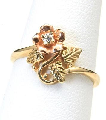 Vintage Lovely 10k Black Hills Gold & Diamond Rose Ring Size 6.75 Can Re-Size