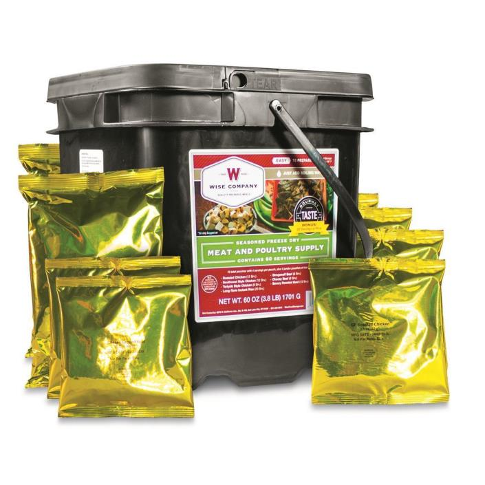 Freeze Dried Meat & Poultry Bucket, 60 Servings, Be Prepared for that Emergency
