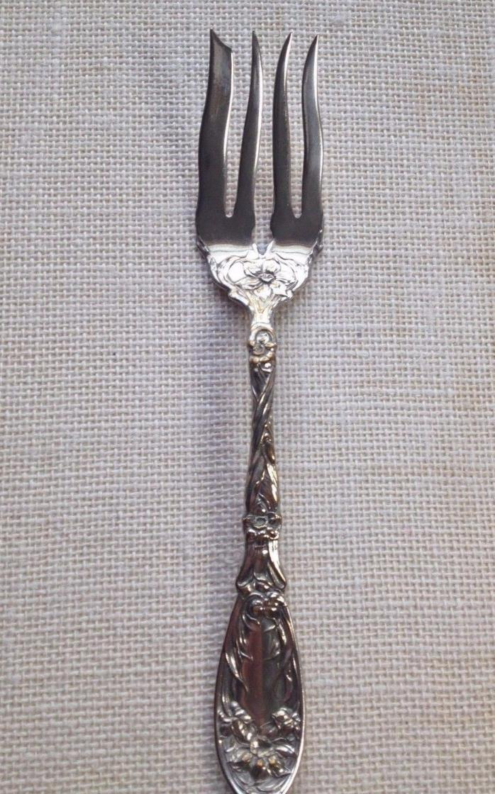 Vintage Oxford Silver Plate Co Cold Meat Serving Fork Narcissus Pattern EUC