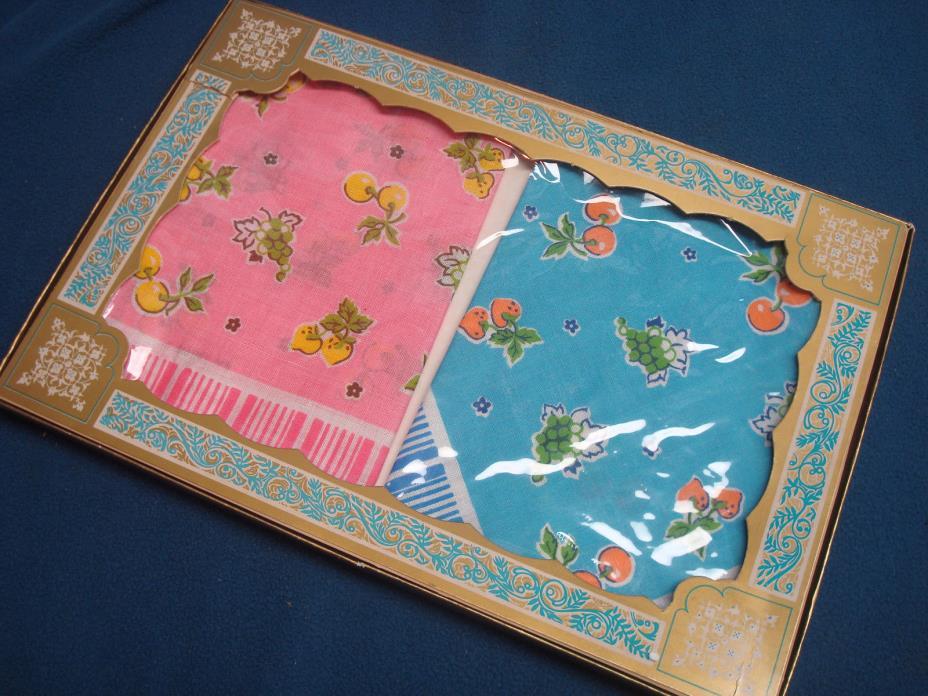 Vintage Boxed Handkerchiefs Pink Blue Fruit