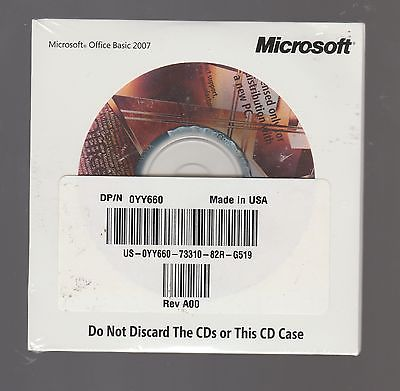 Microsoft Office Basic 2007 Sealed Full with key **read description** Free Ship