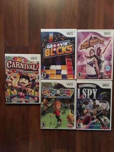 5 Wii Game Lot:Groovin Blocks*AllStar Cheer Squad2*Carnival Games*CrazyGolf*Ispy