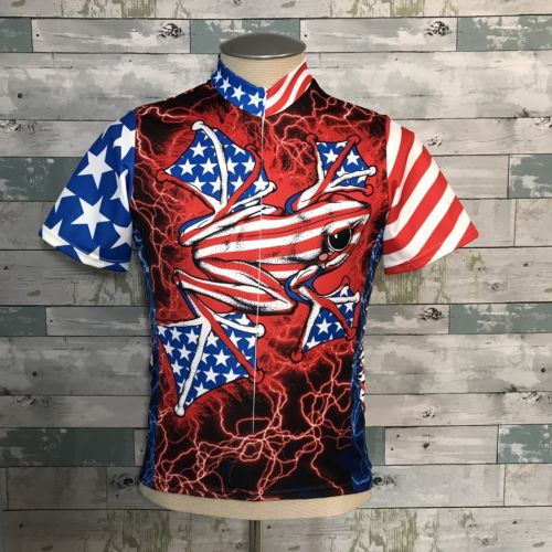 Primal Wear American Flyer Bicycling Jersey Frog Flag Small