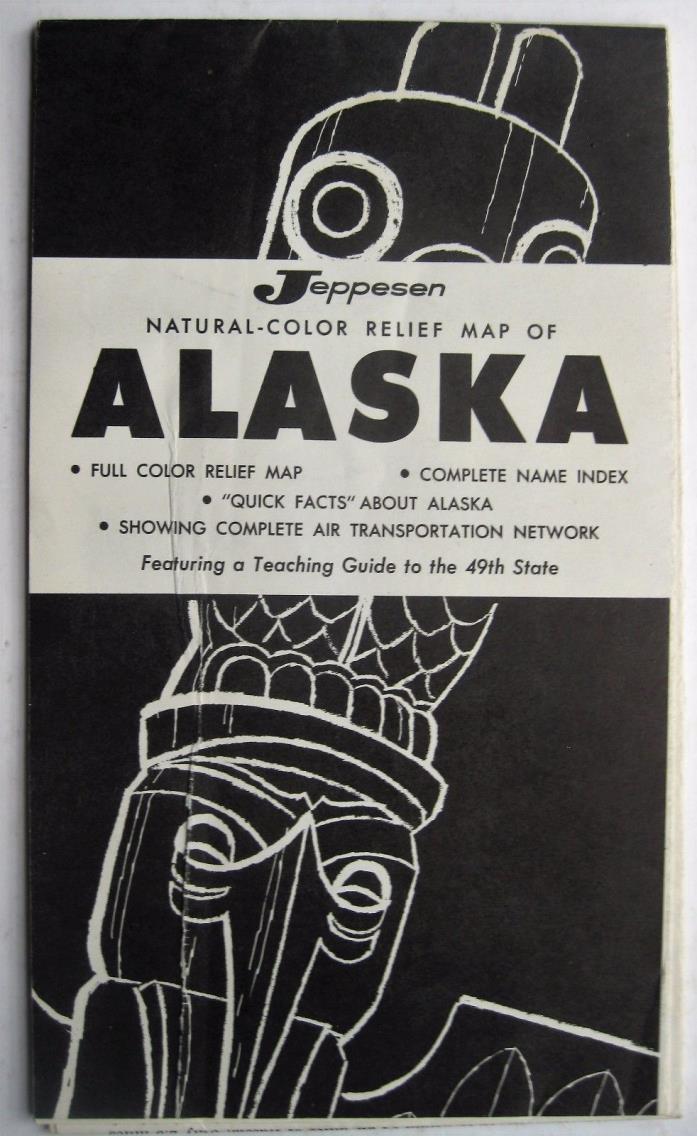 Alaska Map Jeppesen 1958 Full color relief Air Transportation network