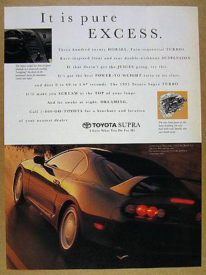 1995 Toyota Supra TURBO black car color photo vintage print Ad