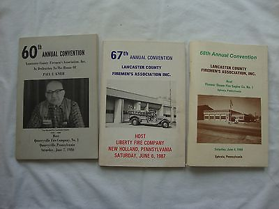 3 Lancaster Co. Firemen's Association Convention Books - 1980, 1987 & 1988