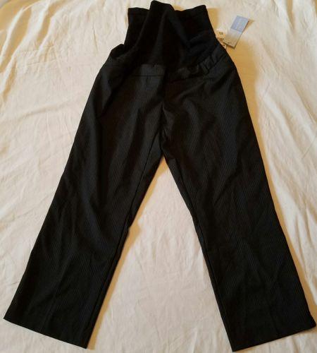 NEW Motherhood Maternity Dress Pant-Black w Pinstripe-Full Panel-Work Slacks-Lg