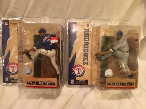 McFarlane MLB S8 Alex Rodriguez Texas Rangers gray Blue jersey 2 Lot