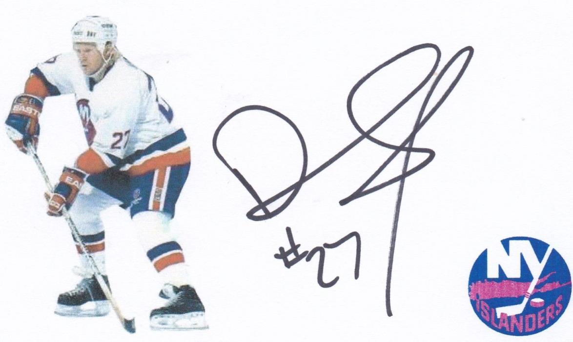 Derk King New York Islanders signed index card