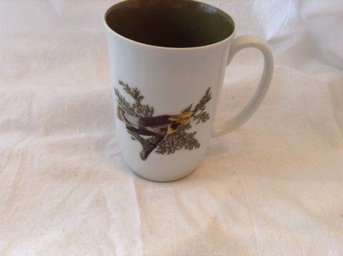 Fitz and Floyd Neiman Marcus Yellow Wild Bird Coffee Mug Cup