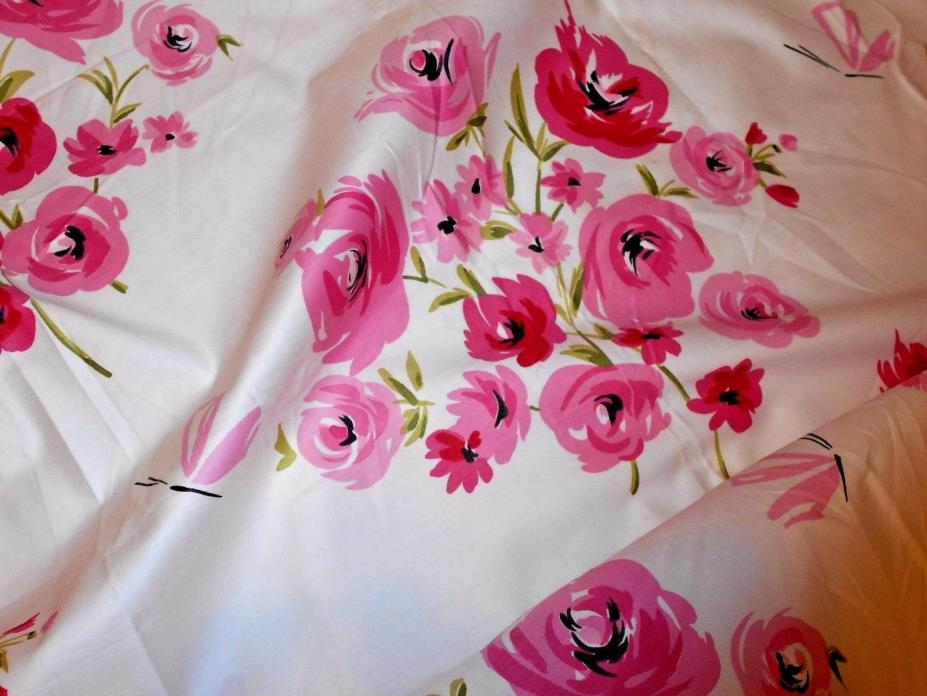 1940's Vtg Waverly Bonded Fabric Glosheen Rose Caprice Hot Pink & Fuchsia UNUSED