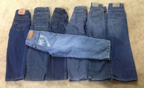 Boys Jeans size 6 Lot of 7 Levi's Wrangler Ecko Adjustable Waists Quality Pants!
