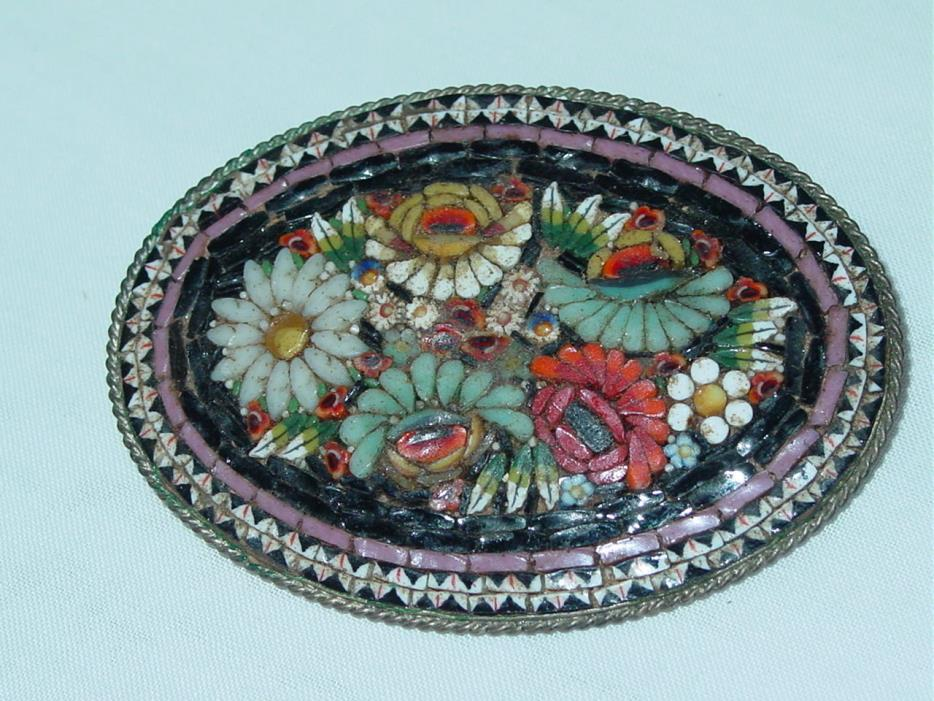 Vintage Antique Micro Mosaic Floral Pin Brooch Large Italy