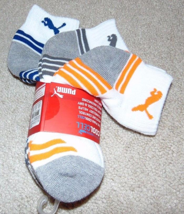 ~3 NWT PUMA Boys Quarter Crew Socks! Sock Size 7-8.5 Shoe Size 9-3.5 Nice FS:)~