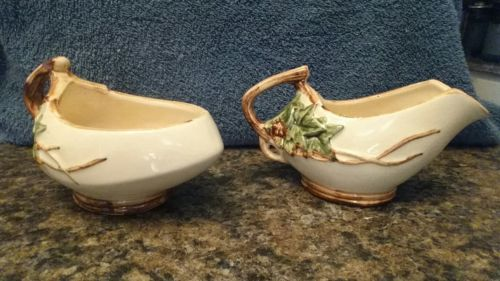 McCoy sugar and creamer with ivy design made in USA