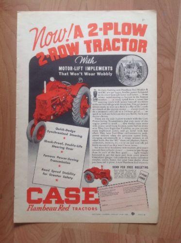 Vintage 1940 Case Flambeau Red Tractors Magazine Advertisement