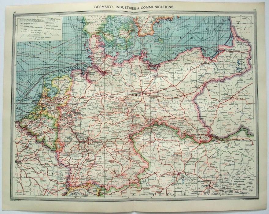 Original Map of Germany: Industries & Communication by George Philip & Son c1906