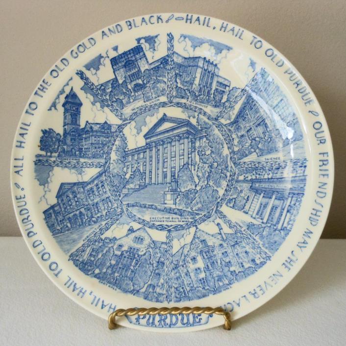 Rare Vintage 1940's Purdue University Vernon Kilns Blue Collector Plate