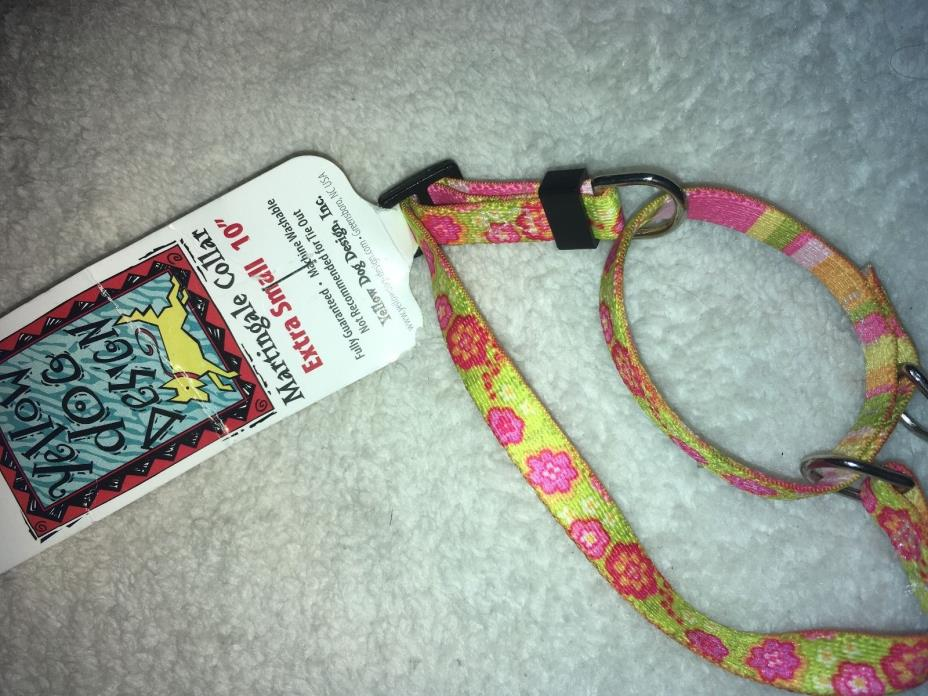 Vibrant Pink Flowers Martingale Dog Collar by Yellow Dog Design, XSm 10