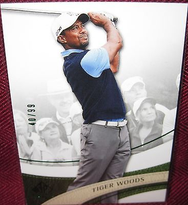 2014 SP AUTHENTIC GOLF EMERALD PARALLEL CARD #1 TIGER WOODS 40/99