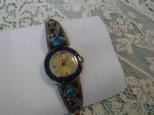 Vintage signed P. Chee Turquoise & Red Coral Ladies Watchband
