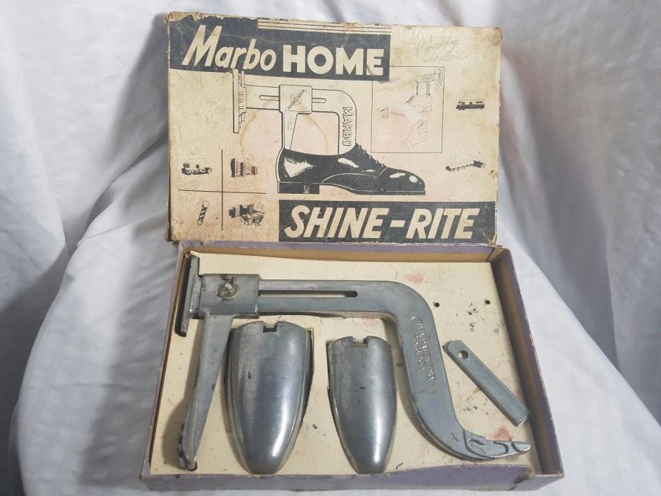 Marbo Home Shine-Rite Wall Mounted 1950's Shoe Shine Kit Original Box no mount