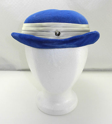 Vintage Blue Velvet & Ivory Satin Hat with Brooch & Rhinestones - Ladies Hat