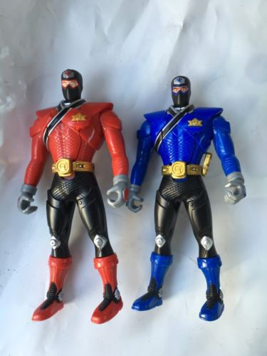 Lot Of 2 SAMURAI POWER RANGERS Action Figures Red & Blue flipping heads