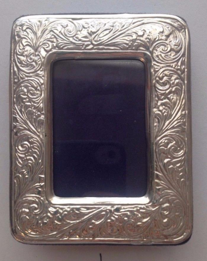 Vintage Estate Ornate Repousse Sterling 925 Silver Picture Frame Mini Miniature
