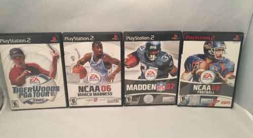LOT OF 4 PS2 GAMES MADDEN 07- NCCA 08 FOOTBALL-NCAA 06 -TIGERWOODS PGA TOUR 01