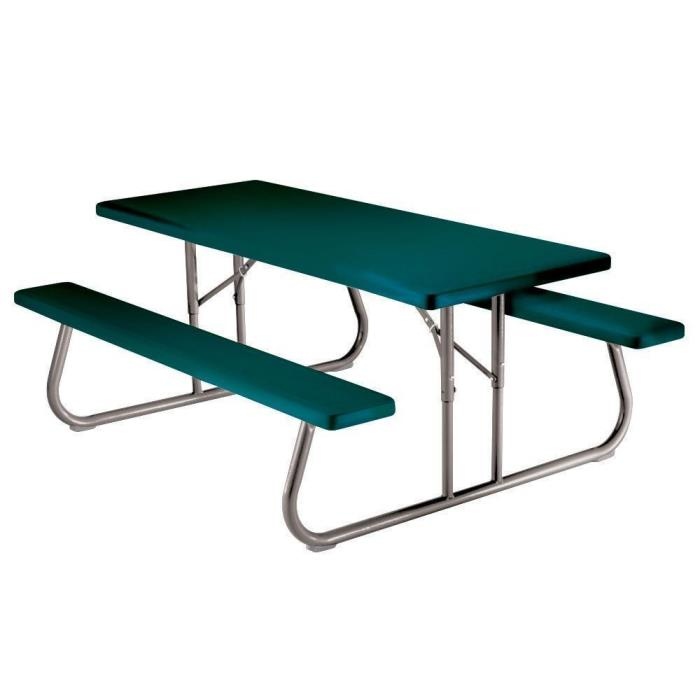 Green Folding Picnic Table with Benches  Portable 57 in. x 72 in.