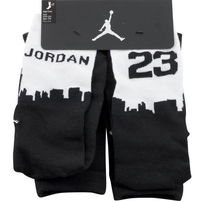Nike Jordan Kids Boys High Crew Socks Size 9-11 Shoe Sz 5Y-7Y 2 Pair Black White