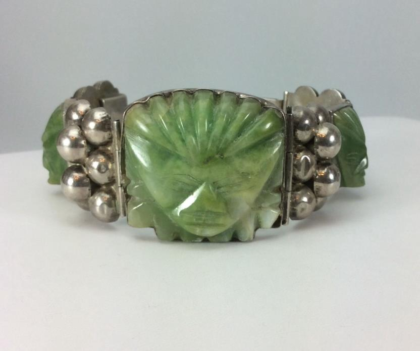 Vintage Mexican Carved Aztec Mask Green Onyx Sterling Silver Panel Bracelet-8