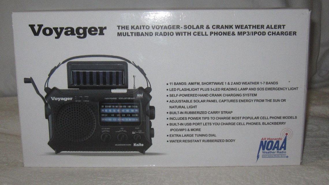 KAITO VOYAGER KA500 SOLAR & CRANK WEATHER ALERT MULTIBAND RADIO & CHARGER NIB!!