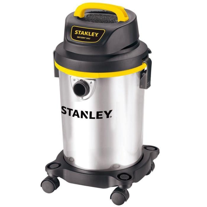 Stanley Portable 4-Gallon Stainless Steel Filtered Wet Dry Vac Vacuum Cleaner